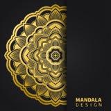 Gouden mandalaontwerp Etnisch rond ornament Hand getrokken Indisch motief Unieke gouden bloemendruk Elegante uitnodiging royalty-vrije stock afbeeldingen