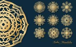 Gouden Mandalas-Vector royalty-vrije stock foto's