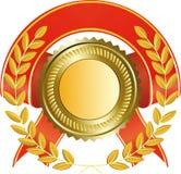 Gouden medaille en lauwerkrans Stock Foto