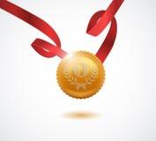 Gouden medaille voor eerste plaats Vector illustratie Stock Afbeeldingen