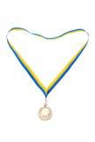 Gouden medailles die op wit worden geïsoleerd0 Royalty-vrije Stock Foto