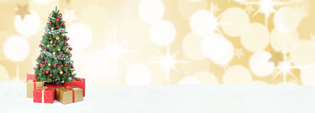 Gouden mede de ballendecoratie kerstboom van de achtergrondbannersneeuw Stock Afbeelding