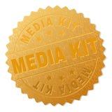 Gouden MEDIA KIT Badge Stamp stock illustratie