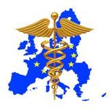 Gouden Medisch Caduceus Symbool met Europese Unie de Vlag van de EU 3d ren Stock Fotografie