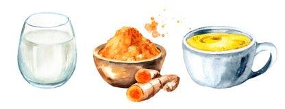 Gouden Melkingrediënten Waterverfhand getrokken die illustratie, op witte achtergrond wordt geïsoleerd Royalty-vrije Stock Fotografie
