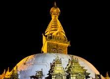 Gouden mening van Swayambhunath Stupa royalty-vrije stock foto