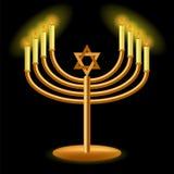 Gouden Menorah met het Branden van Kaarsen Stock Afbeeldingen