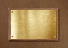 Gouden of messingsplaat voor nameboard of diploma achtergrondkader Stock Afbeelding