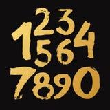 Gouden Met de hand gemaakte getrokken Nummer 0-9 geschreven met een borstel Stock Afbeeldingen
