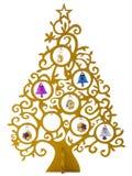 Gouden met de hand gemaakte Kerstboom geïsoleerd op witte achtergrond Royalty-vrije Stock Afbeeldingen