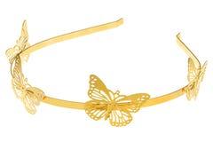 Gouden metaal hoofdband met groot geïsoleerd vlindersontwerp, Stock Foto