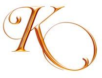 Gouden metaalalfabet, brief K, 3d illustratie Royalty-vrije Stock Foto