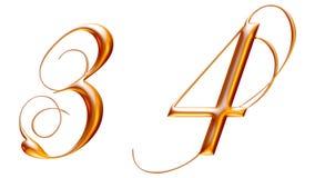 Gouden metaalalfabet, nummer drie vier, 3d illustratie Royalty-vrije Stock Afbeelding