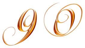 Gouden metaalalfabet, nummer negen nul, 3d illustratie Stock Afbeelding