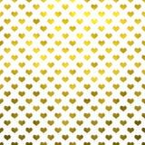 Gouden Metaalhartenpolka Dot Pattern Hearts White Background Royalty-vrije Stock Foto's