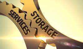 Gouden Metaaltoestellen met het Concept van de Opslagdiensten 3d Royalty-vrije Stock Afbeelding