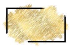 Gouden metalltextuur, zwart kader De gouden slag van de kleurenverf isoleerde witte achtergrond Schitter helder vlekontwerp royalty-vrije illustratie