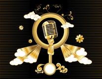 Gouden microfoonvector   Stock Foto's