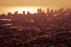 Zonsondergang over Miami van de binnenstad Royalty-vrije Stock Fotografie