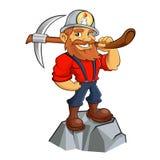 Gouden mijnwerkersbeeldverhaal Stock Foto's