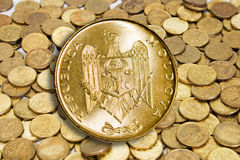 Gouden modern muntstuk Royalty-vrije Stock Foto's