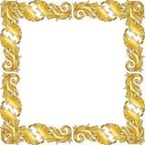 Gouden monogram bloemenornament Waterverf achtergrondillustratiereeks Het ornamentvierkant van de kadergrens stock afbeelding