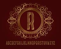 Gouden monogrammalplaatje in gevormd elliptisch kader met mooi alfabet vector illustratie