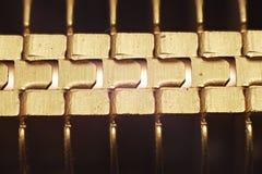 Gouden motherboard koeler stock afbeelding
