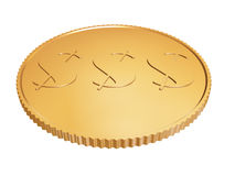 Gouden muntstuk 1$ op wit royalty-vrije illustratie