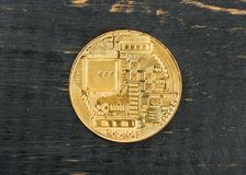 Gouden muntstuk bitcoin Stock Afbeelding