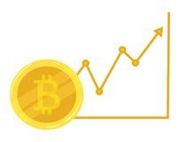 Gouden muntstuk bitcoin Cursus het uitgaan Crypto munt De grafische groei bitcoin Mijnbouw van elektronische munt Het pictogram v Stock Afbeeldingen