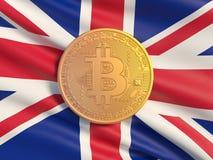 Gouden muntstuk Bitcoin tegen de achtergrondvlag van het Verenigd Koninkrijk Symbolisch beeld van virtuele munt royalty-vrije illustratie