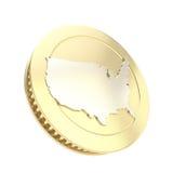 Gouden muntstuk dat met de zilveren vorm van het de V.S.land wordt geïsoleerde Royalty-vrije Stock Afbeelding