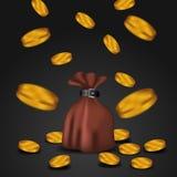 gouden muntstuk die neer van hemel met zak geld voor de financiën van de handelseconomie vallen vector illustratie