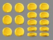 Gouden muntstuk Gouden die muntstuk op een witte achtergrond wordt ge?soleerd Gouden muntstuk, vectorillustratie royalty-vrije illustratie