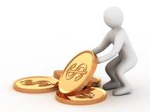 Gouden muntstuk en mens Royalty-vrije Stock Foto