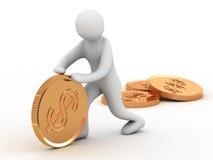Gouden muntstuk en mens Stock Afbeelding