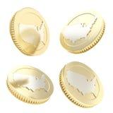 Gouden muntstuk met de vorm van de V.S. op omgekeerde in vier variaties Royalty-vrije Stock Fotografie