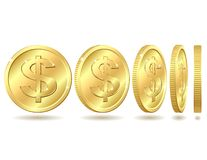 Gouden muntstuk met dollarteken Royalty-vrije Stock Fotografie