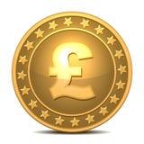 Gouden muntstuk met pond Sterlingteken. Royalty-vrije Stock Afbeelding