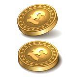 Gouden muntstuk met pond Sterlingteken. Stock Afbeelding