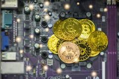 Gouden muntstuk op de achtergrond van elektronische kringsraad Stock Fotografie