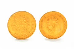 Gouden muntstuk 10 roebels Rusland Stock Afbeeldingen