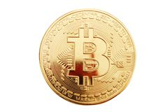 Gouden muntstuk van bitcoin op een witte achtergrond Stock Foto's