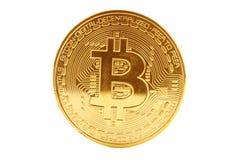 Gouden muntstuk van bitcoin op een witte achtergrond Stock Afbeeldingen