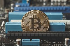 Gouden muntstuk van crypto munt Bitcoin op de spaander van het computernetwerk Royalty-vrije Stock Afbeelding