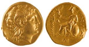 Gouden muntstuk van oud Griekenland. Stock Foto's