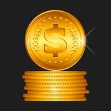 Gouden muntstuk, vector Stock Foto's