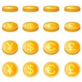 Gouden muntstuk, vier munteenheidsvector Royalty-vrije Stock Fotografie