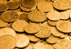 Gouden muntstukken als achtergrond of textuur royalty-vrije stock foto's